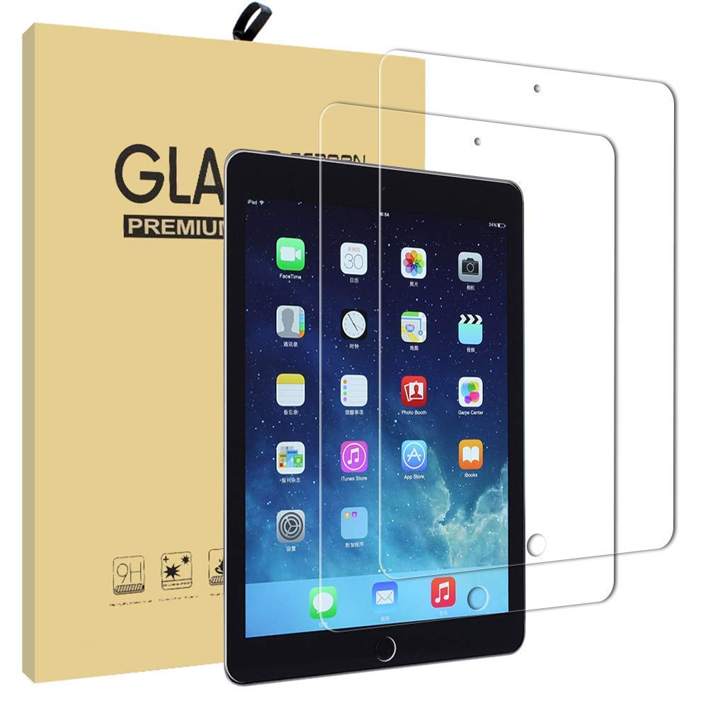 New iPad 2017 9.7 Screen Protector [2 Pack], UCMDA Ultra-thin 2.5D Rounded Edge 9H Hardness Tempered Glass Screen Protector Guard Film for iPad Pro 9.7 inch / iPad Air 2 / iPad Air / iPad 2017 9.7 inch HBY-H0137