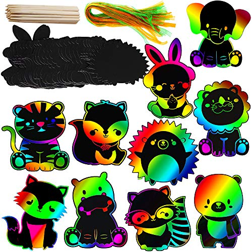 Supla 30 Set Woodland Birthday Party Game Supplies for Kids Art Rainbow Magic Color Scratch Woodland Animals Ornaments Woodland Party Favor for Woodland Creatures Party Baby Shower Nursery Decor]()