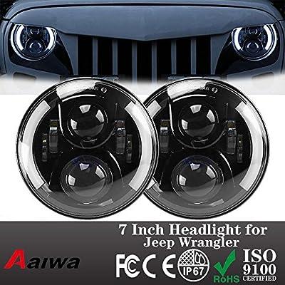 Aaiwa Pair 7 Inch Round LED Headlight for Jeep Wrangler JK CJ LJ with H4 Plug