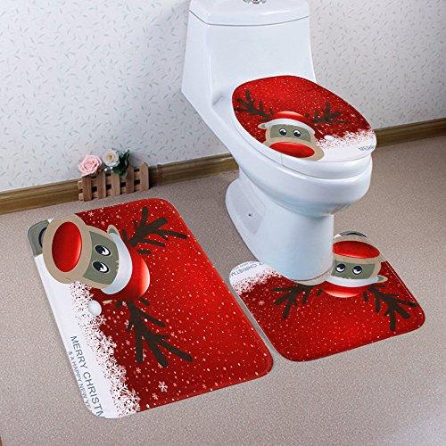 Blue Christmas Night View Toilet Foot Pad Seat Cover Radiator Cap Home Bathroom Sets(5080cm,4050cm,4050cm,Multicolor C) (Best Radiators For Bathrooms)