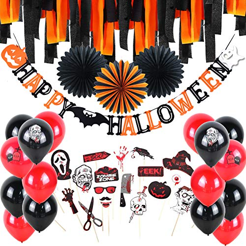Happy Halloween Party Decoration Zombie Theme Party Photo Booth Props Latex Balloons Paper Fans Crepe Paper Streams Party Backdrop, All In One Pack, Black Orange Red, Easy Joy -