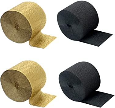 82 Feet Per Volume Aimto Black and Gold Crepe Paper Streamers-12 Rolls