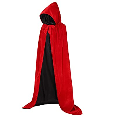 Black Unisex Halloween costumes Velvet Hooded Cloak with Hood Vampire Coat Robe