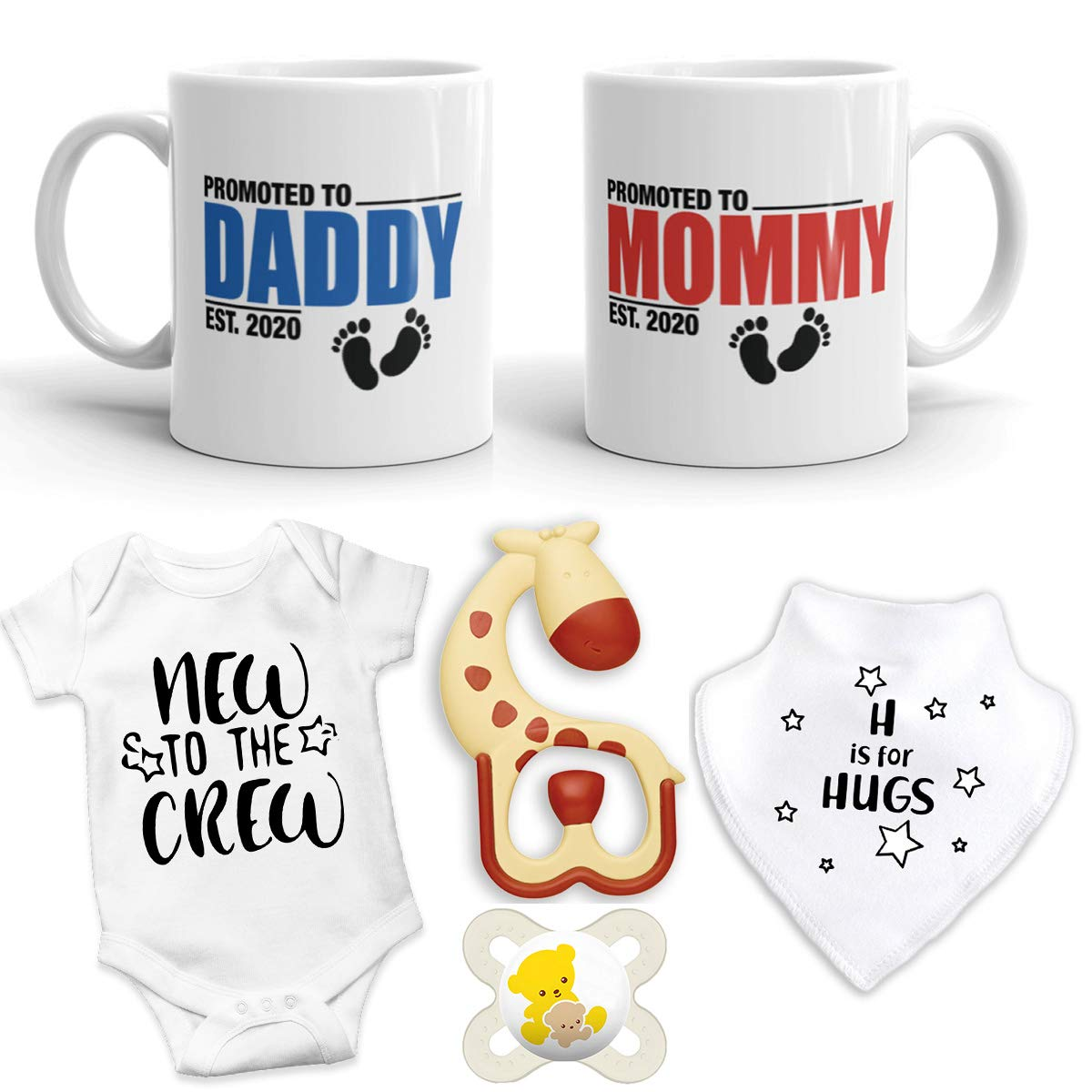 2020 Est Pregnancy Gift - New Promoted to Mommy & Daddy 11 oz mug set with''New to the Crew'' Baby Romper, BIB, Teether, and Pacifier - Top Mom & Dad Gift Set (0-3 Months)