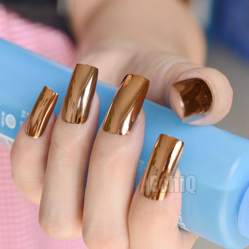 Amazon.com : Extra Long Press On Nails Glossy Champagne Mirror ...