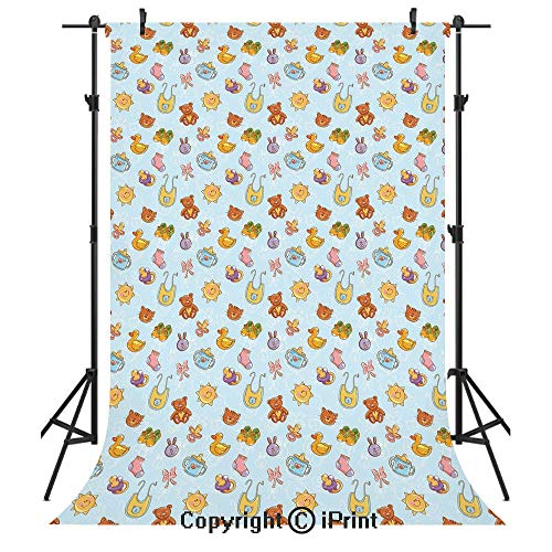 Baby Photography Backdrops,Newborn Sun Teddy Bear Ribbon Feeder Pacifier Chick Kitty Cat Design Decorative,Birthday Party Seamless Photo Studio Booth Background Banner 6x9ft,Pale Blue Cinnamon Apricot ()