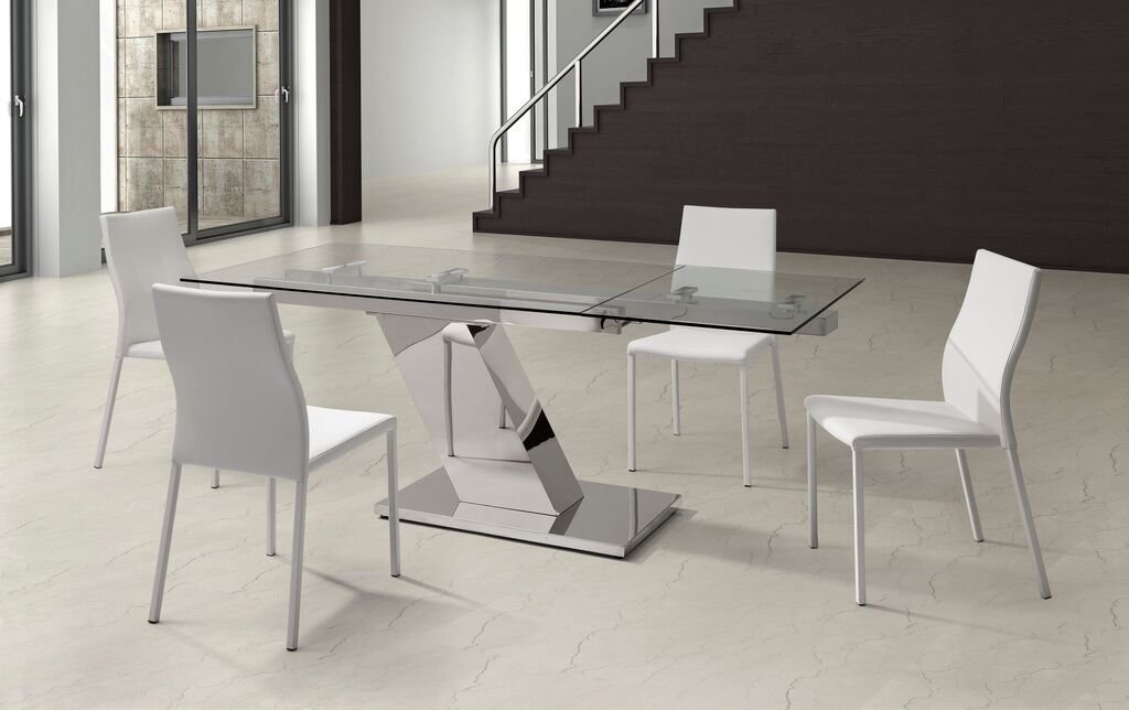 Amazon.com : Ultra Sleek Stainless Steel U0026 Glass Modern Executive Desk Or  Conference Table (Extends) : Office Products
