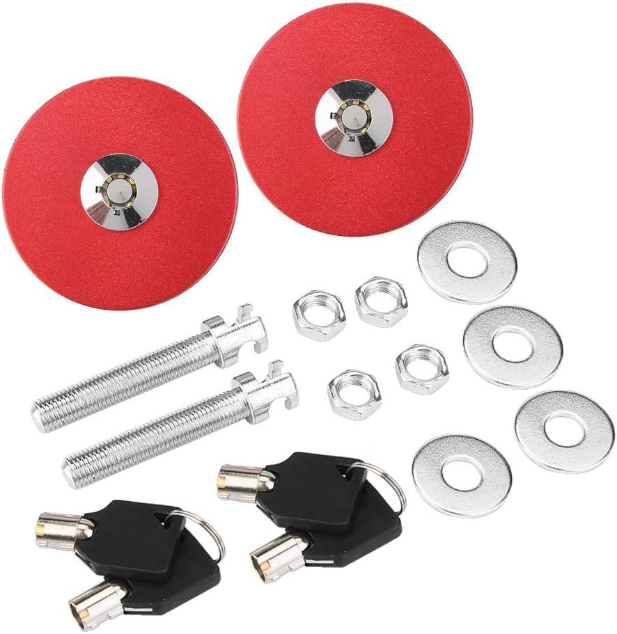 Hood Lock Pin Kit Hood Latches Universal Car Aluminum Engine Hood Pins Lock Clip Kit Replacement Black Hood Latch Kit Red Black