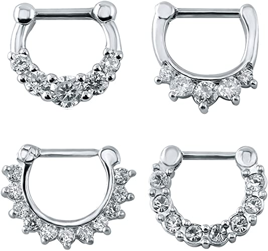 Amazon Com 4pcs Cubic Zirconia Septum Clicker Nose Rings 16g