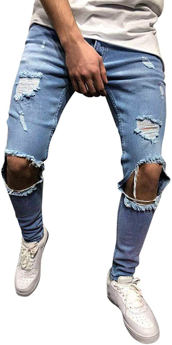 SPE969 Mens Jeans Slim Denim Trousers Fashion Solid Straight Shredded Pockets Pants