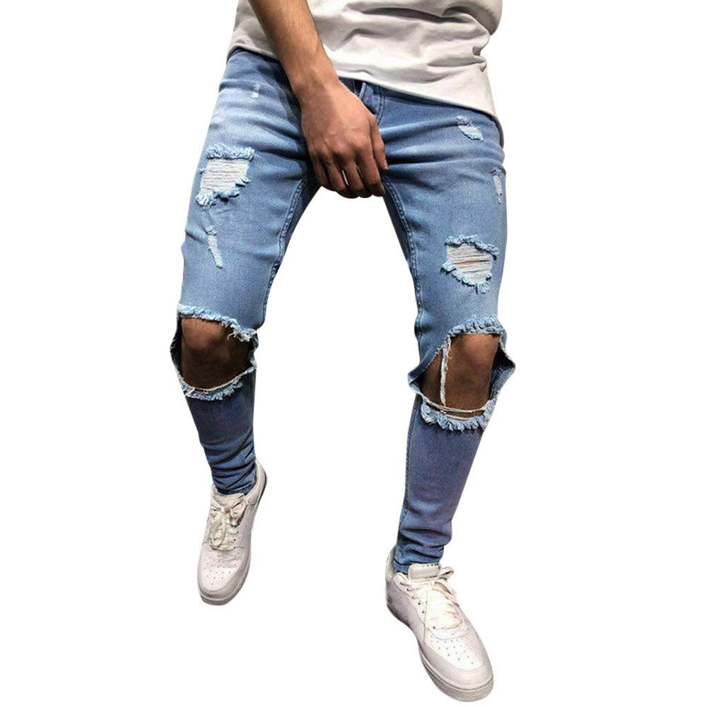 iYYVV Mens Skinny Stretch Denim Pants Distressed Ripped Frayed Slim Fit Jeans Trousers