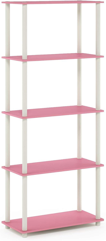 Furinno 17091PI/WH Turn-N-Tube 5-Tier Multipurpose Shelf Display Rack, Single, Pink/White