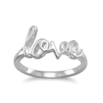 6d5e66f6b8 Amazon.com: Sterling Silver Love Ring Script Cursive Writing: Jewelry