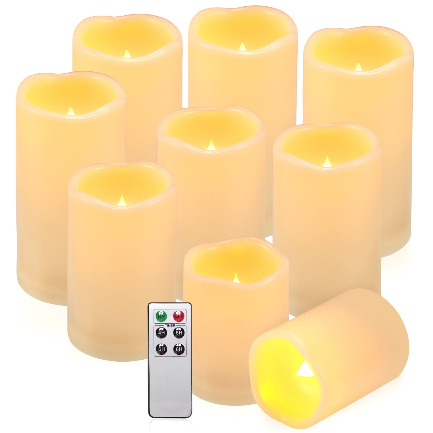 comenzar Flameless Candles, Battery Candles Set of 9(H 4'' 5'' 6'' x D 3'') Waterproof Outdoor Indoor Led Candles with Remote Timer (Amber yellow)