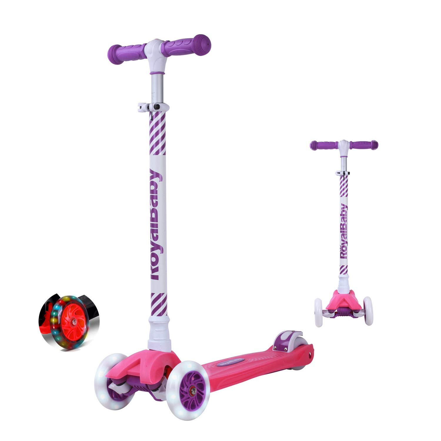 Royalbaby 3 Wheel Scooter (Saber) - Adjustable Height with Security Lock/Flashing Wheels/Lean to Turn/Durable Deck - Gift for Children ROYAL BABY