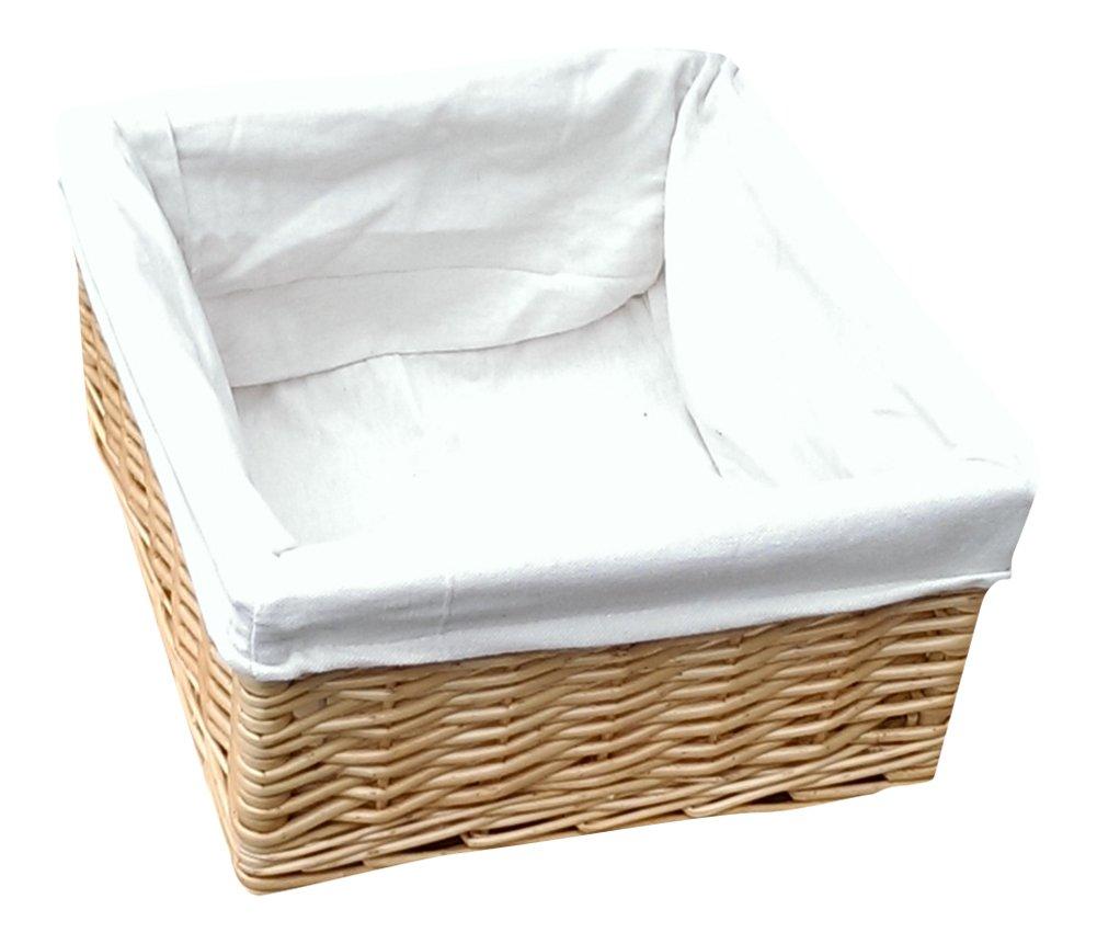Buff Willow Wicker Lined Square Storage Baskets L23cm x W23cm x H14cm Choice Baskets