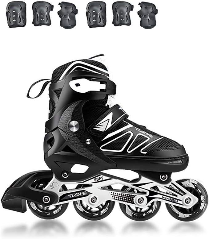ティーンズレジャーインラインスケート調節可能なサイズの男の子と女の子インラインスケート安全で長持ちするメンズローラーブレード (Color : 黒, Size : M-EU(34-37)) 黒 M-EU(34-37)
