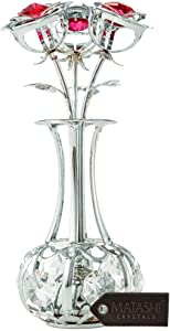 Matashi Sunflowers in vase Ornament Crafted with Stunning Clear Crystals, Comes in Luxury Packaging – Great Gifts idea for Mom from Daughter, Son (Silver, Red Crystals)