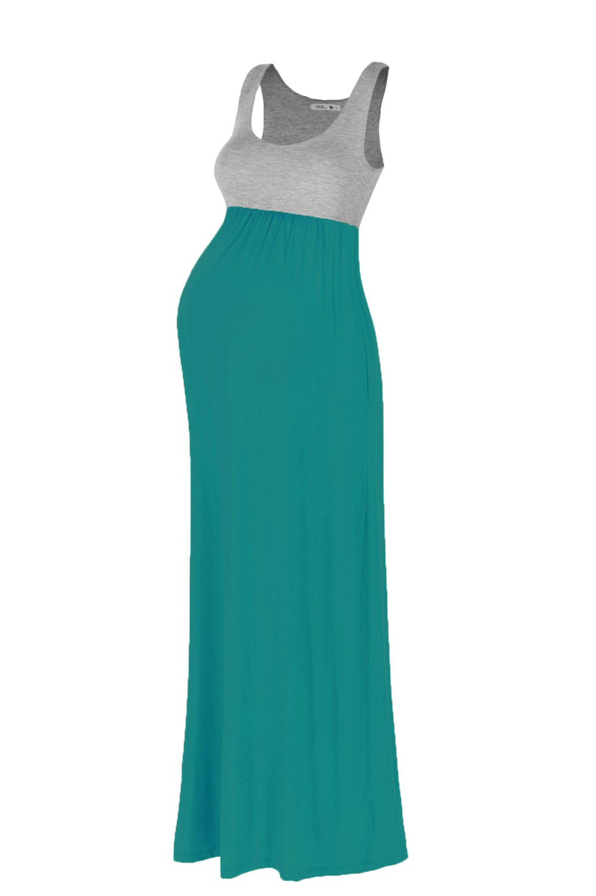 Beachcoco Women's Maternity Contrast Maxi Tank Dress (L, H.Grey/Jade)