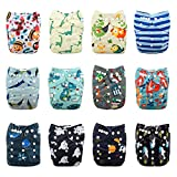 Babygoal Baby Cloth Diapers,One Size Adjustable Reusable Pocket Cloth Diaper 12pcs Diapers+12pcs Bamboo Viscose Inserts+One Wet Bag+4pcs Baby Wipes 12FB55-2