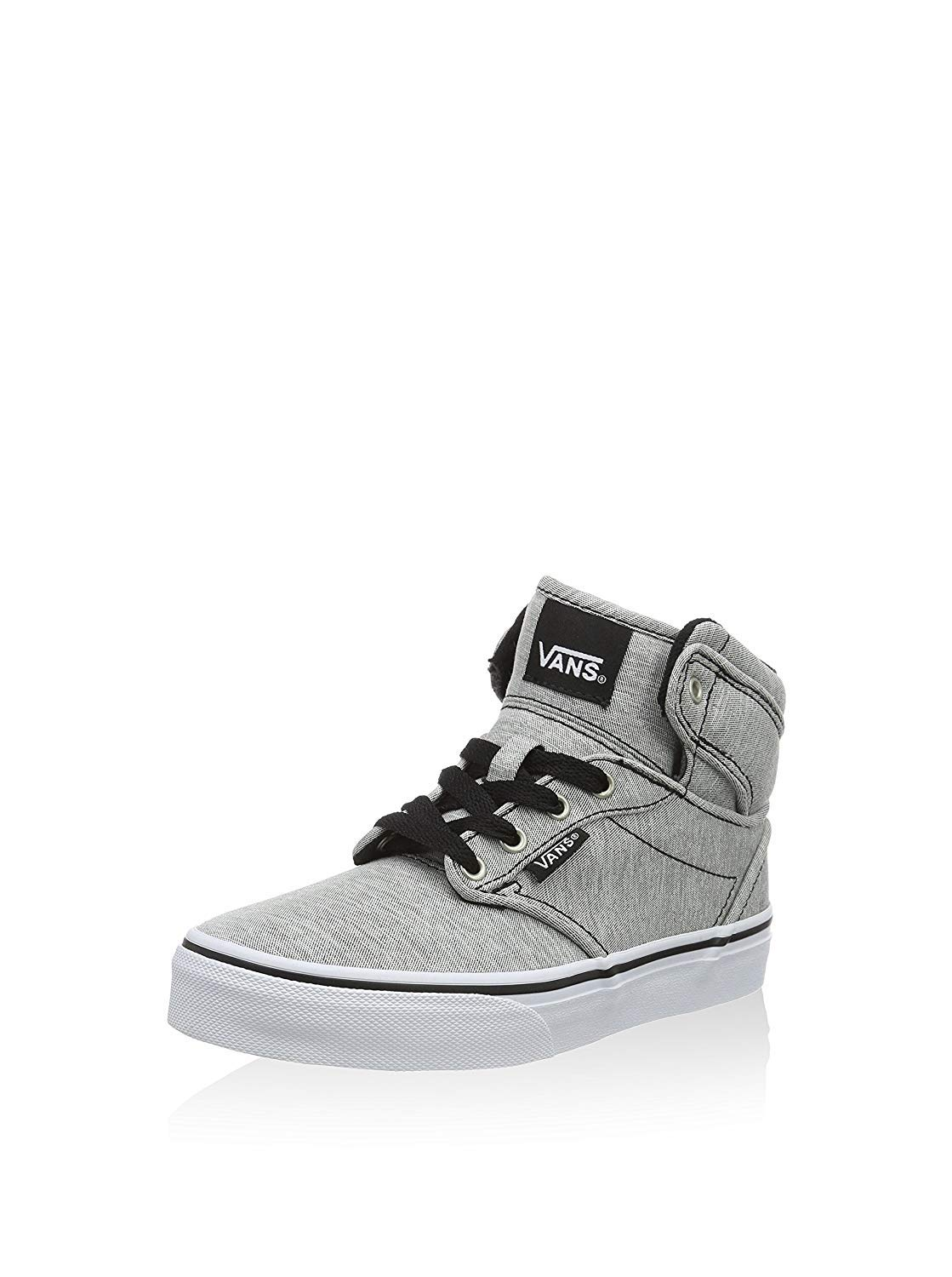 Vans Youth Atwood Hi Skateboarding Shoe (Washed Jersey) Gray/White (US 10.5 Y)