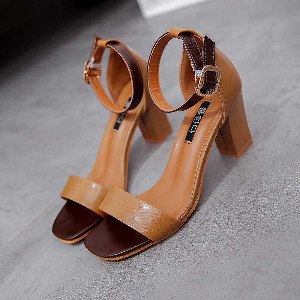 Sunnywill Sandales Femmes Cheville Talons Hauts Chaussures /à Bout Ouvert