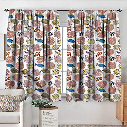 RenteriaDecor Aquarium,Door Curtains Tropic Fishes Coral Reef 104
