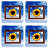 MSD Square Coasters Non-Slip Natural Rubber Desk Coasters design: 1717889 Sunflower in Picture Frame