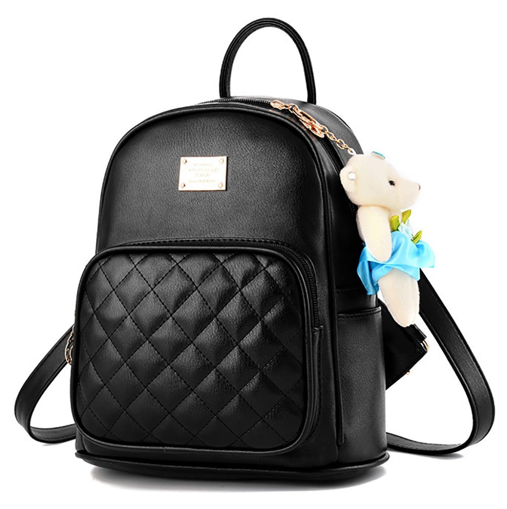 Girls Leather Backpack Purse Satchel School Bags Casual Travel Daypacks for Womens Mini Backpack Black
