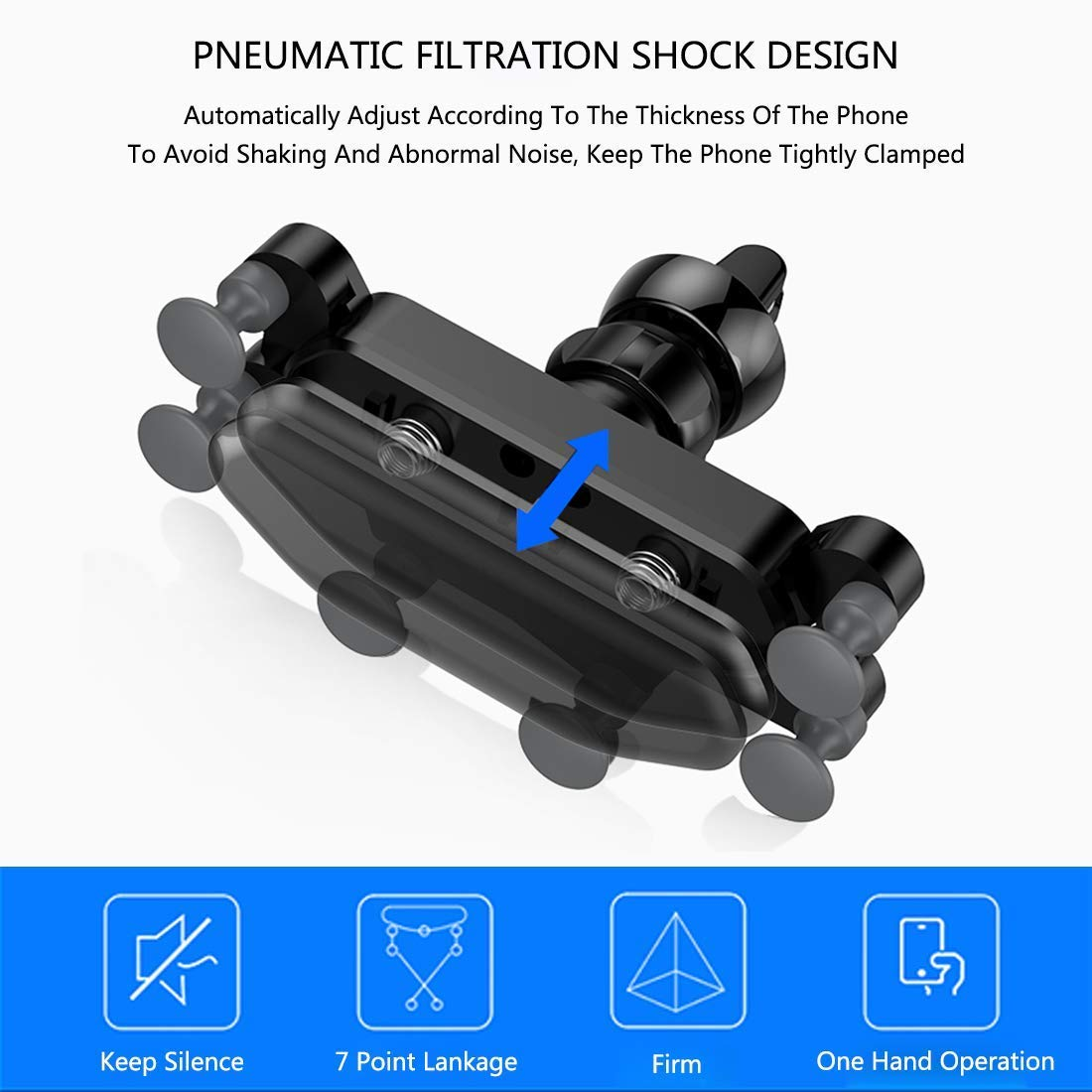 3EYES Car Vent Cell Phone Gravity Mount Mobile Holders Automatic Locking with Pneumatic Shock Protector for All Smartphones Black ...