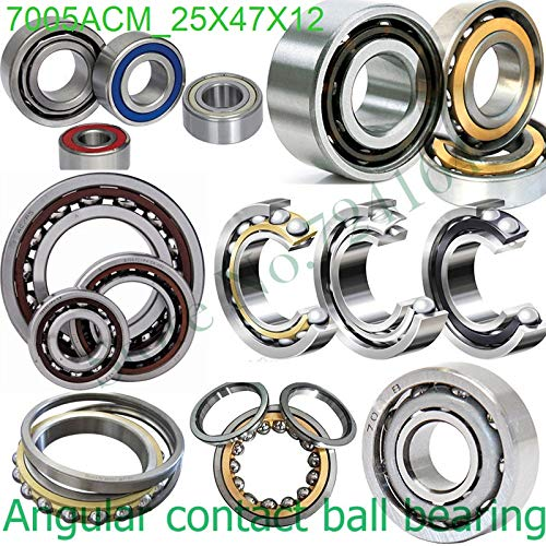 (Huscus 25mm Diameter Angular Contact Ball Bearings 7005 ACM 25mmX47mmX12mm,Contact Angle 25,Brass cage ABEC-1 Machine axis,AUTO,Reducer)