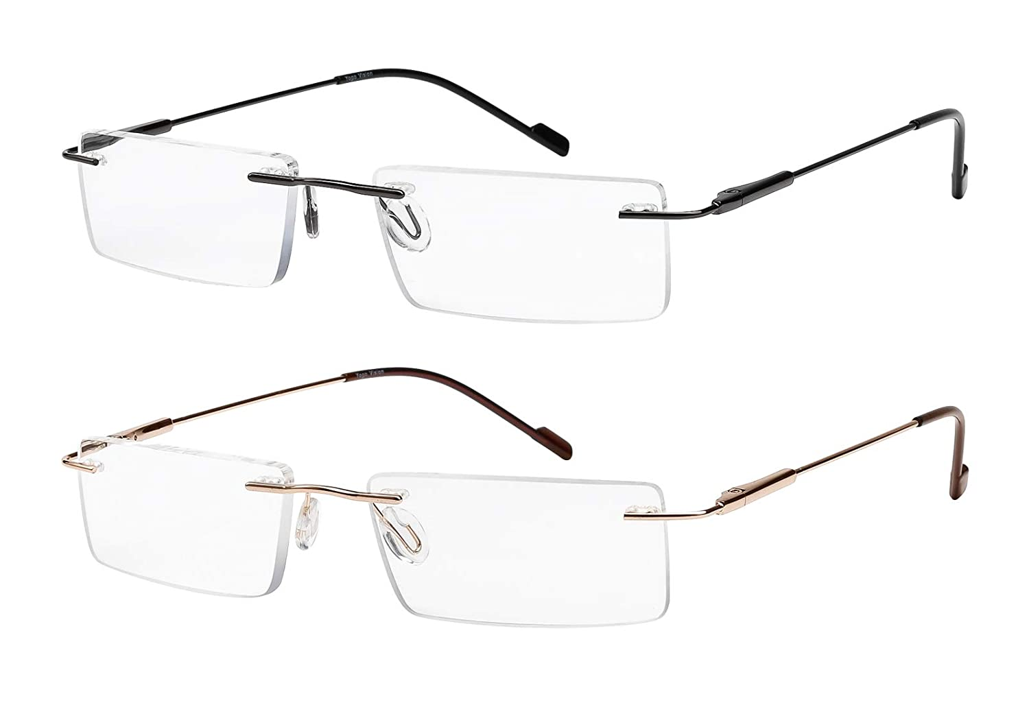 Reading Glasses 2 Pair Rimless Ultra Lightweight Readers for Men and Women 1)