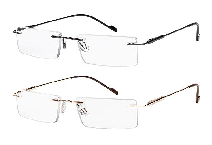 e0d6e1f8e82 Reading Glasses 2 Pair Rimless Ultra Lightweight Readers for Men and Women  +1