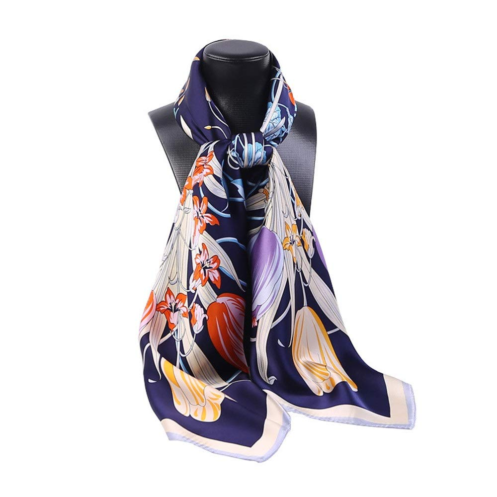 color2 Spring, Autumn and Winter Printing Scarves, Silk Satin, Large Square Scarf, Ladies Silk Scarves (color   color1)