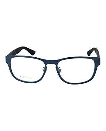 ef67b6c5588f Amazon.com: Gucci GG 0175O 003 Blue Metal Rectangle Eyeglasses 54mm ...