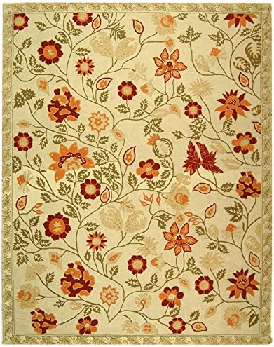 Safavieh Chelsea Collection HK716A Hand-Hooked Ivory and Green Premium Wool Area Rug 8 9 x 11 9