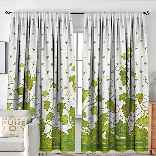 Window Blackout Curtains Vineyard,Flowers Cluster Sherry Leaf Province Garden Retro Refreshing Tasty Countryside Rustic,Green,for Room Darkening Panels for Living Room, Bedroom 54