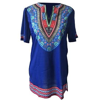 Meijunter Men African Tradition V-neck Tribal Shirt Printed Long Sleeve Dashiki