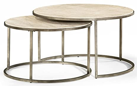Amazoncom Hammary Round Nesting Table Kitchen Dining