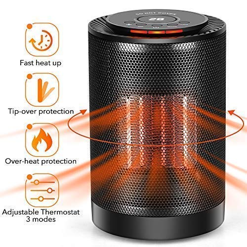 Cheap LONOVE PTC Space Heater – Portable Ceramic Heater for Office Bedroom Kids Baby Room Garage Car RV Desk Mini Area, Small Personal 1200W/600W Electric Heater Indoor with Thermostat Oscillation