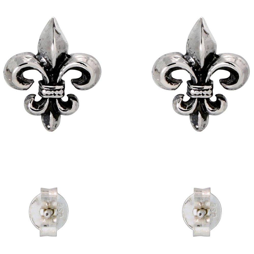 e6c7980e2 Amazon.com: Sterling Silver Fleur de Lis Stud Earrings, 1/4 inch: Fleur De  Lis Jewelry: Jewelry