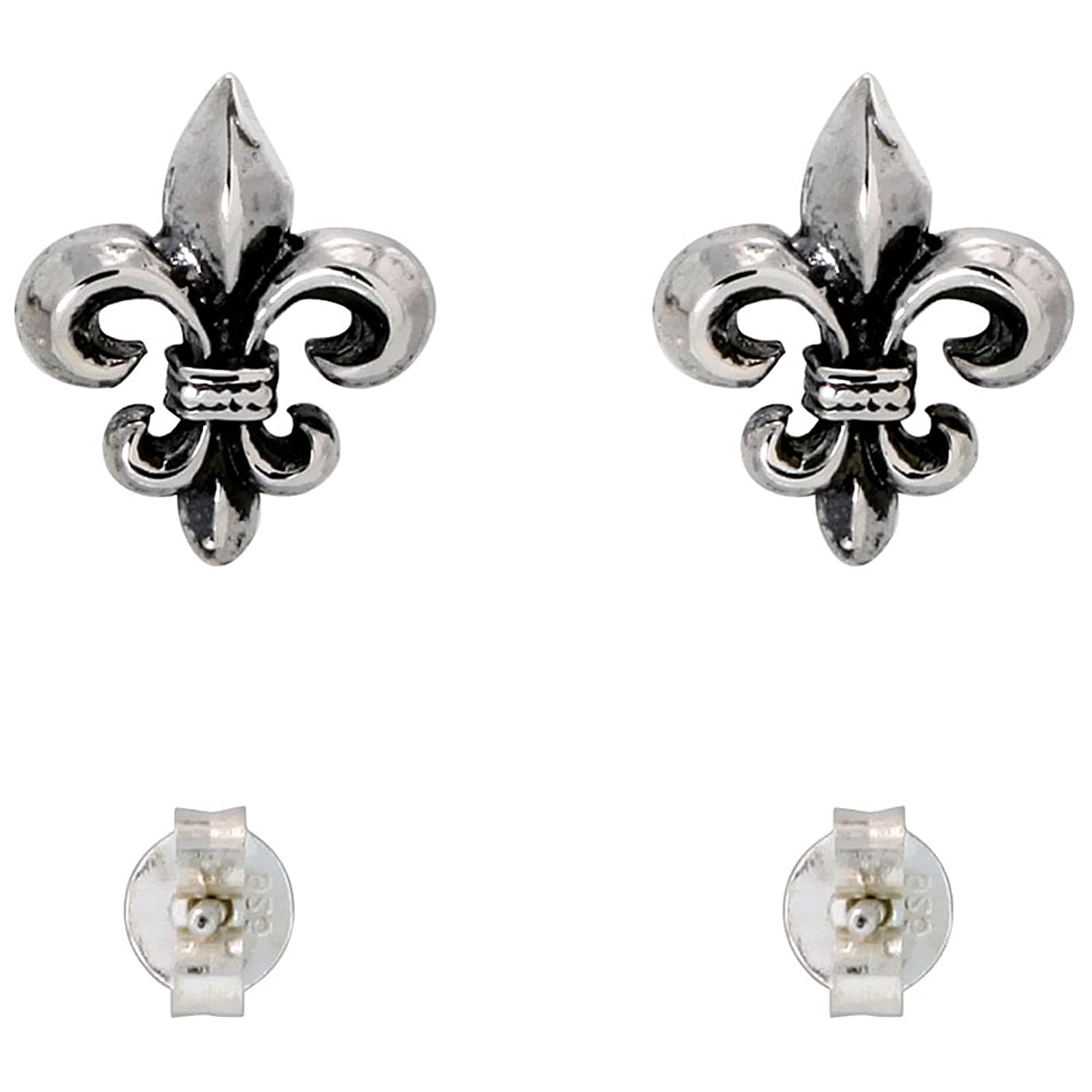 amazon com sterling silver fleur de lis stud earrings 1 4 inch