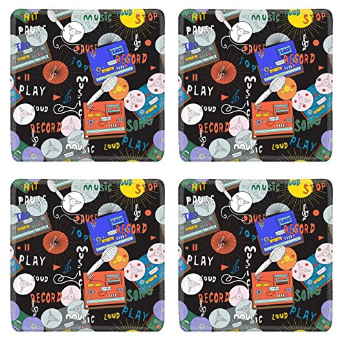 [Luxlady Natural Rubber Square Coasters IMAGE ID: 29874938 Seamless music pattern with old tape recorders microphones and cassette players in spirit of 70s and] (70s Jewellery Disco)
