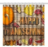 Wknoon 72 x 72 Inch Shower Curtain,Happy Thanksgiving Day Pumpkin Vintage Old Wood Background,Waterproof Polyester Fabric Decorative Bathroom Bath Curtains