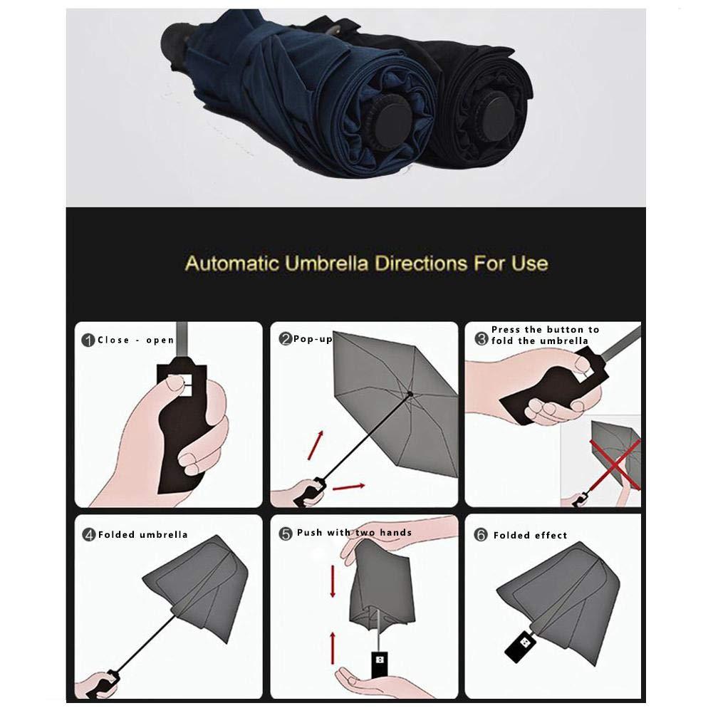 Adminitto88 Ombrello Pieghevole Antivento Automatico Ombrello con Protezione UV Tripla Ombrello Bottiglia di Vino 9 Aste Rinforzate Manico Antiscivolo Utile per Viaggi Passeggiate Allaperto