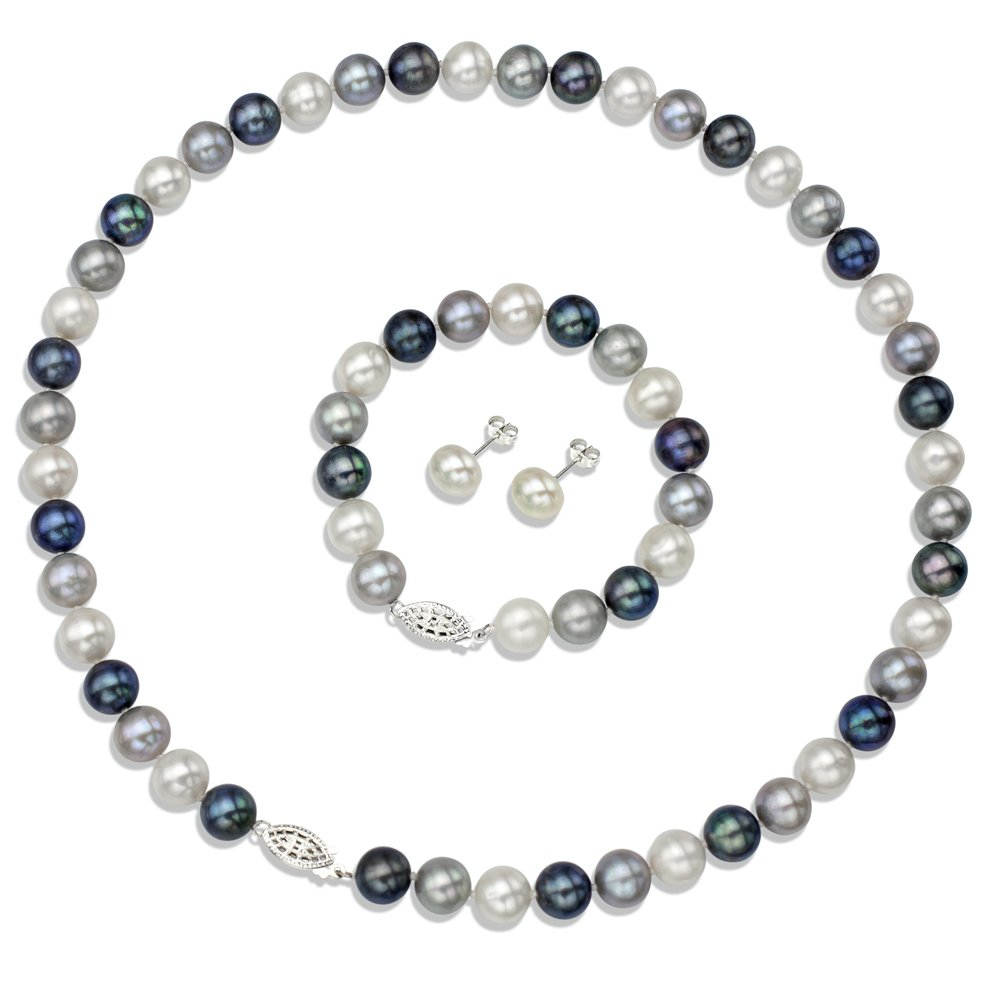 Sterling Silver 9-9.5mm Dyed Multidark Freshwater Cultured Pearl Necklace, Bracelet & Stud Earrings