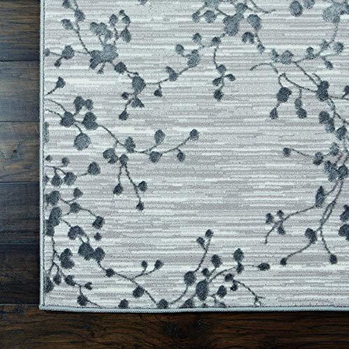 Nourison Urban Chic Grey Modern botanical Area Rug 4 x 6