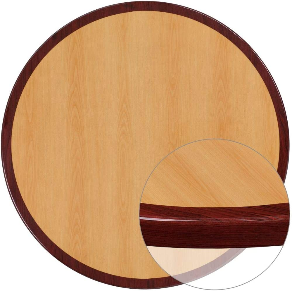 Flash Furniture 36'' Round 2-Tone High-Gloss Cherry / Mahogany Resin Table Top with 2'' Thick Drop-Lip