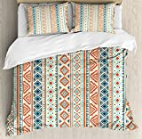Tribal Duvet Cover Set by Ambesonne, Mexican Style Aztec Patterned Retro Hand Drawn Design Abstract, 3 Piece Bedding Set with Pillow Shams, Queen / Full, Blue Orange ivory