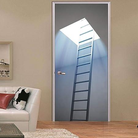 Pegatinas Puertas Adhesivo interiores Escalera de tragaluz 3d Pegatina de puerta de habitación Sala de estar Decoración de dormitorio Decoración de puerta Pegatina de pared para el hogar 30.3x78.7: Amazon.es: Hogar
